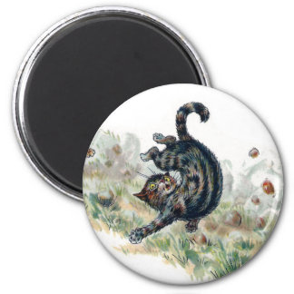 El gato de Louis Wain toma una caída Imán Redondo 5 Cm