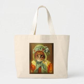 El gato de Mary Cassatt en capo Bolsa Tela Grande