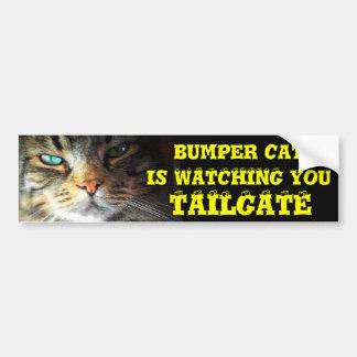El gato de parachoques está mirando la PUERTA Pegatina Para Auto