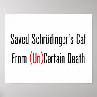 El gato de Schrodinger ahorrado (la O.N.U) de Póster