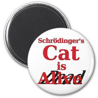 El gato de Schrodinger es muertos vivos Imán Redondo 5 Cm