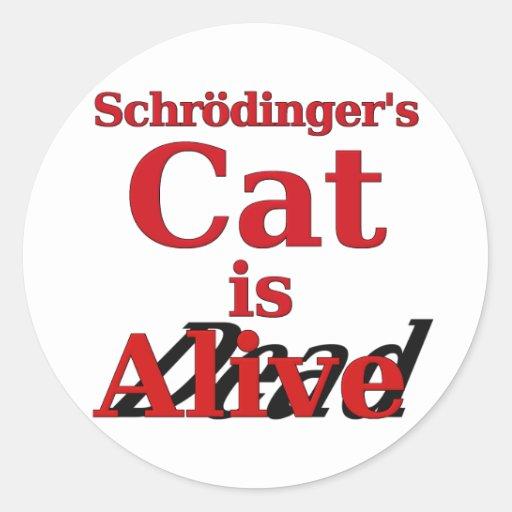 El gato de Schrodinger es muertos vivos Pegatina Redonda