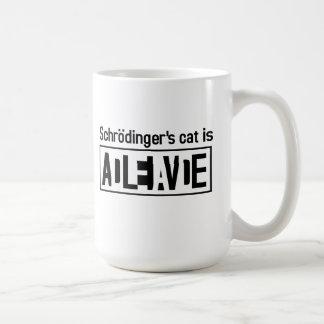 El gato de Schrodinger es Taza Básica Blanca