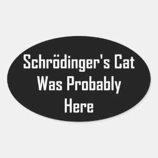 El gato de Schrodinger estaba probablemente aquí Pegatina Ovalada