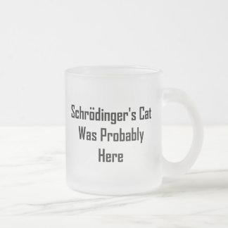 El gato de Schrodinger estaba probablemente aquí Taza Cristal Mate