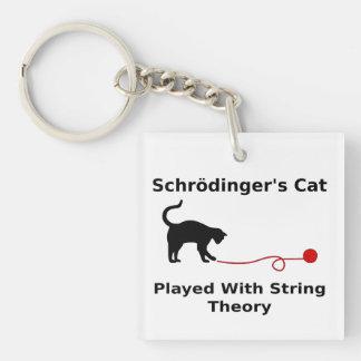 El gato de Schrödinger jugado con teoría de la Llavero Cuadrado Acrílico A Doble Cara