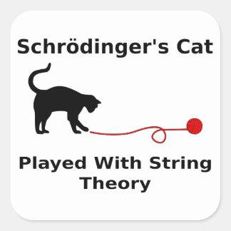 El gato de Schrödinger jugado con teoría de la Pegatina Cuadrada