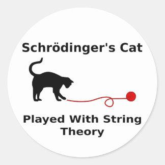 El gato de Schrödinger jugado con teoría de la Pegatina Redonda