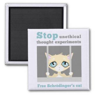 El gato de Schrodinger libre Imán Cuadrado