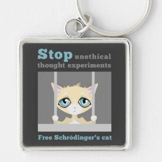 El gato de Schrodinger libre Llavero Cuadrado Plateado