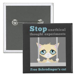 El gato de Schrodinger libre Pin Cuadrado