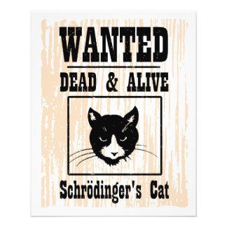 """El gato de Schrodinger querido Folleto 4.5"""" X 5.6"""""""