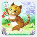 El gato de Tabby anaranjado divertido florece Calcomanías Cuadradass