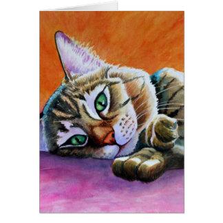 El gato de Tabby con Smooshy hace frente Tarjeta De Felicitación