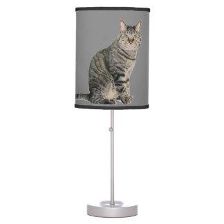 El gato de Tabby embroma la lámpara de mesa