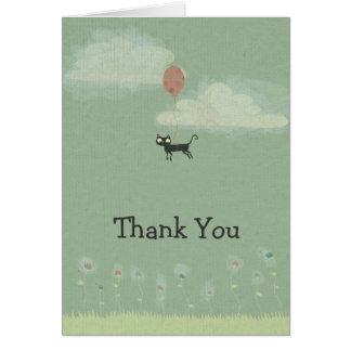 El gato de vuelo le agradece cardar tarjeta de felicitación