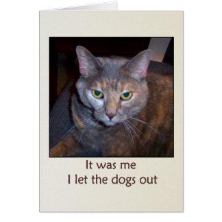 El gato dejó los perros hacia fuera tarjeta de felicitación