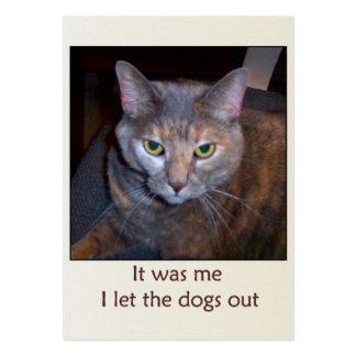 El gato dejó los perros hacia fuera tarjetas de visita grandes