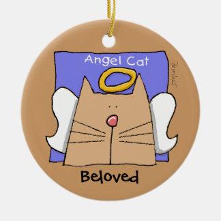 El gato del ángel del moreno personaliza ornamento para arbol de navidad
