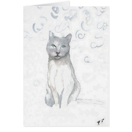 El gato del blanco gris soña los regalos de los am tarjeta de felicitación