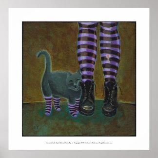 El gato del chica patea arte rayado del gótico de  poster