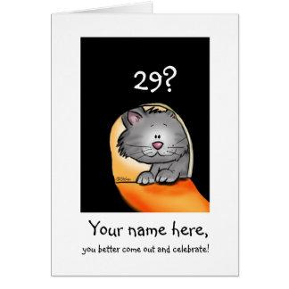 el gato del cumpleaños 29h personaliza con edad y  felicitación