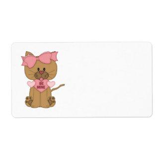 El gato del día de San Valentín sea el mío Etiqueta De Envío