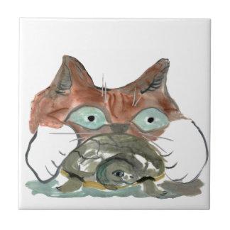 El gato del gatito agarra su tortuga PAL Azulejo Cuadrado Pequeño