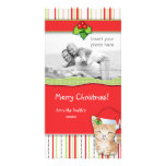 El gato del gatito del navidad raya la tarjeta de  tarjeta fotográfica personalizada