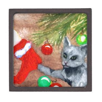 El gato del gatito es él navidad con todo diversió caja de recuerdo de calidad