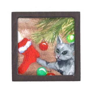 El gato del gatito es él navidad con todo diversió cajas de recuerdo de calidad