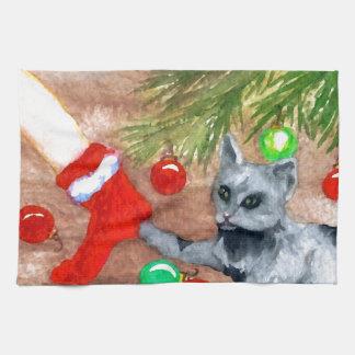 El gato del gatito es él navidad con todo diversió toalla