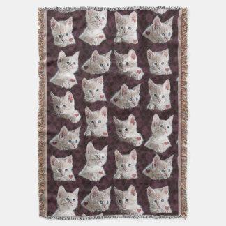 El gato del gatito hace frente al modelo con manta