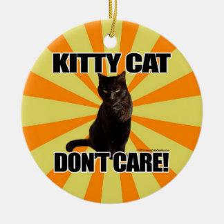 El gato del gatito no cuida adorno navideño redondo de cerámica