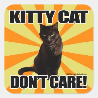 El gato del gatito no cuida calcomanías cuadradass