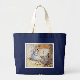El gato del gatito se sienta por el fuego bolsa de tela grande