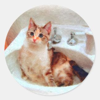 El gato del impresionista en pegatinas/sellos de etiquetas redondas