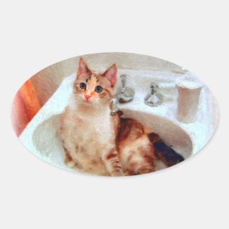 El gato del impresionista en pegatinas/sellos de calcomania ovalada