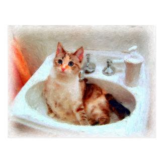 El gato del impresionista en una postal del lavabo