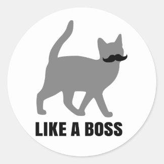 El gato del inconformista tiene gusto de un jefe etiquetas redondas
