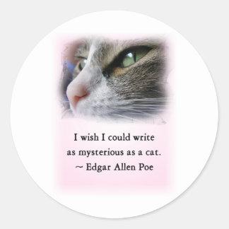 El gato del Poe Pegatina Redonda