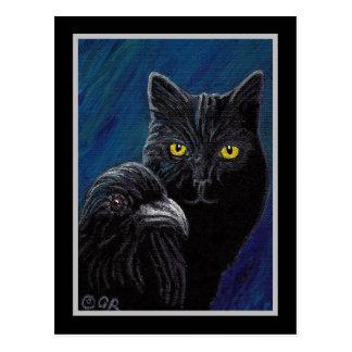 El gato del Poe y postal del cuervo