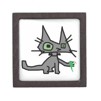 El gato del robot sostiene un juguete del ratón caja de recuerdo de calidad