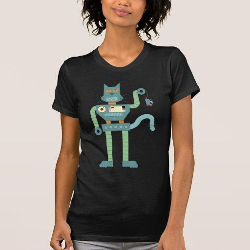 El gato del robot y enrolla para arriba el ratón camisetas