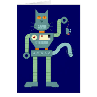 El gato del robot y enrolla para arriba el ratón tarjeta de felicitación