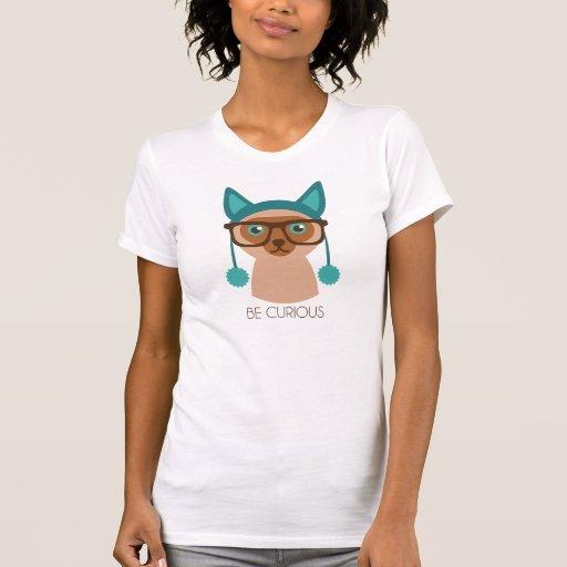 El gato del sabelotodo sea parte posterior curiosa camisetas