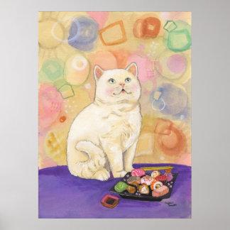 El gato del sushi no puede comer en amor póster