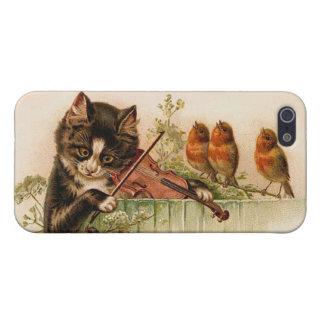 El gato del Victorian toca el violín para los pája iPhone 5 Cárcasas