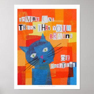 El gato del zombi piensa que sus cerebros son herm póster