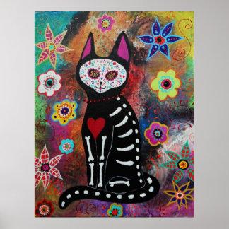 El gato Dia de los Muertos Painting Poster